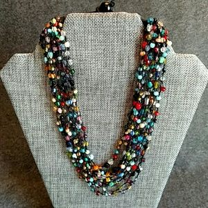 Jewelry - Bead and Knot Necklace, multi colored